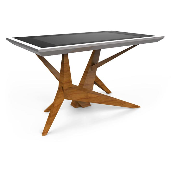 D-Cosmo luxury multi touch table wood & silver