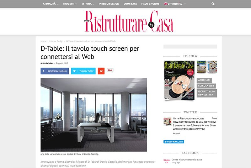 D-Table il Tavolo Touch Screen