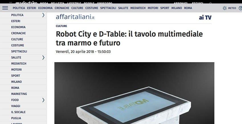 Affari italiani il tavolo multimediale tra marmo e futuro - Tavolo multimediale ...