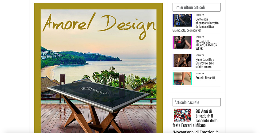 D-Table Amore Design magazine