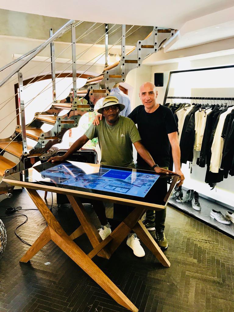 Samuel L. Jackson and Danilo Cascella with D-Table Luxury Multit